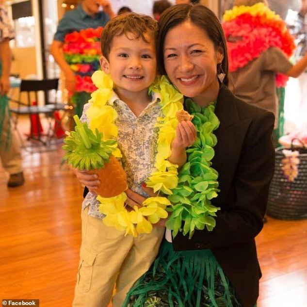 Hu (pictured with her son) wrote in court filings that O'Loughlin had been obsessed with Pierce's health and videotaped his breathing if he had a stuffy nose